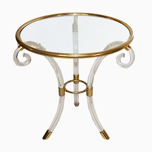Italian Gilded Steel, Glass & Plexiglass Side Table from Laboratori Romani, 1970s