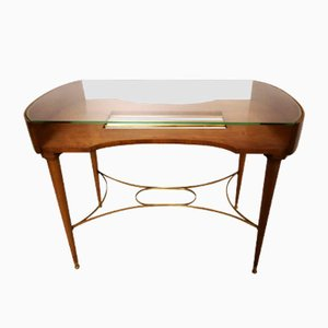 Italian Cherrywood, Brass & Crystal Coffee Table, 1950s