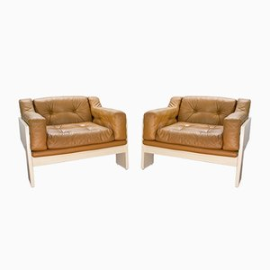 Oriolo Leather Lounge Chairs by Claudio Salocchi for Sormani, 1960s, Set of 2