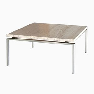 Travertine and Stainless Steel Coffee Table, 1960s