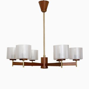 Vintage Walnut Veneered Ceiling Lamp with Brass Details from Temde, 1950s