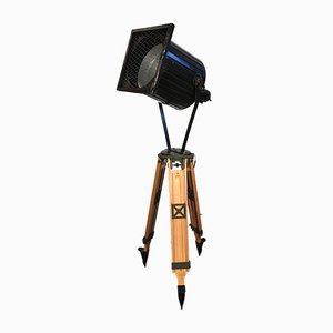 Vintage Black Industrial Spotlight on Wooden Tripod