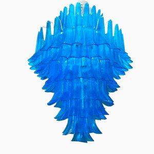 Lámpara de araña de cristal de Murano azul de Mazzega, años 70