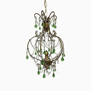 Vintage Italian Macaroni Crystal Beaded Murano Drop Chandelier