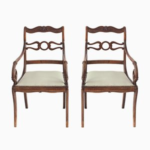 Antike Biedermeier Armlehnstühle, 2er Set