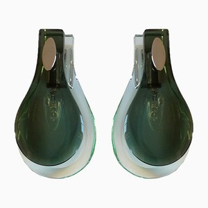 Mid-Century Glass Sconces from Fontana Arte, 1970s, Set of 2