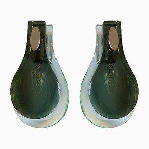Mid-Century Glass Sconces from Fontana Arte, 1970s, Set of 2