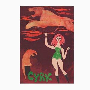 Polnisches Cyrk Poster von Jerzy Srokowski für WAG, 1960er