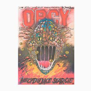 Vintage Polish Alien Movie Poster by Andrzej Pagowski for Polfilm, 1987