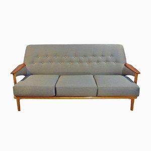 Sofá danés de teca y roble de tres plazas, años 60