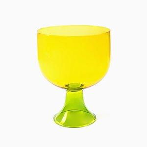 Medium Cuppone Schale aus geblasenem Glas in Gelb von Aldo Cibic für Paola C.