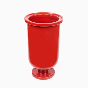 Base Low Ceramic Vase in Red by Aldo Cibic for Paola C.
