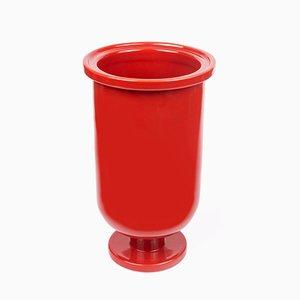 Vase en Socle Bas en Céramique Rouge par Aldo Cibic pour Paola C.