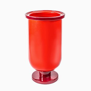 Base Low Ceramic Vase in Two-Tone Red by Aldo Cibic for Paola C.