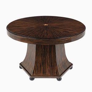 Vintage French Macassar Veneered Round Table, 1930s
