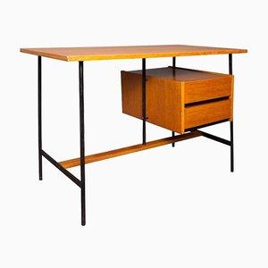 Französischee Schreibtisch aus Eichenholz Furnier & Metall, 1960er