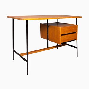 French Oak Veneer and Metal Desk, 1960s