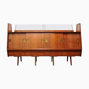 Teak, Brass, & Glass Sideboard, 1960s