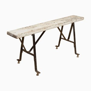 French Industrial Bench in Metal and Wood, 1940s