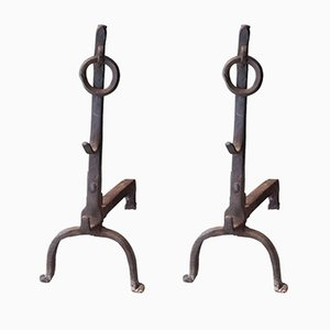 Alari in ferro battuto, Francia, anni '40, set di 2