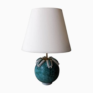 Vintage Turquoise & White Ceramic Table Lamp