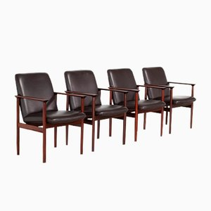 Leather & Rosewood Armchairs by Cor Bontenbal for Fristho Franeker, 1960s, Set of 4