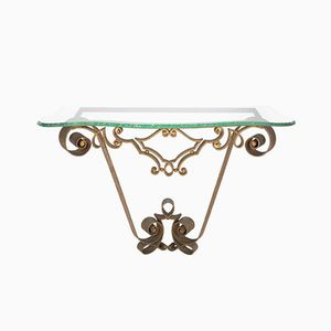 Gilded Wrought Iron Console Table by Pier Luigi Colli, 1950s