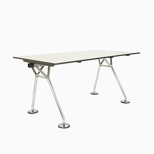 Chromed Metal & White Laminated Plastic Nomos Desk by Norman Foster for Tecno, 1987