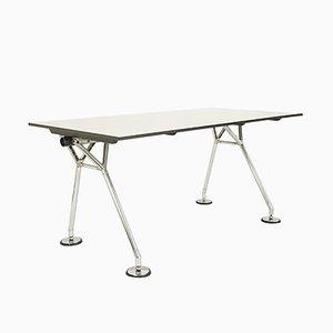 Nomos Schreibtisch aus verchromtem Metall & weiß laminiertem Kunststoff von Norman Foster für Tecno, 1987