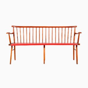 3-Seater Teak & Skai Bench, 1960s