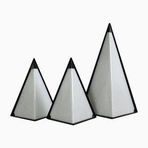Mid-Century Perspex Pyramid Lamps, Set of 3