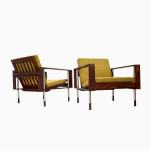 Mid-Century Lounge Chairs in Wengé from Fristho, 1960s, Set of 2