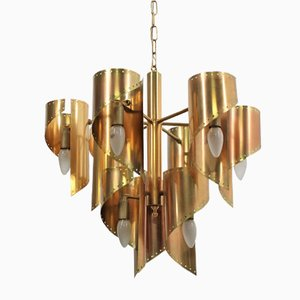Golden Brass 9-Light Chandelier by Gaetano Sciolari, 1970s