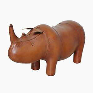 Small Vintage Rhinoceros Leather Foot Stool in the style of Dimitri Omersa, 1980s