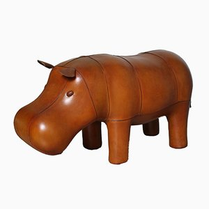 Vintage Hippopotamus Leather Foot Stool by Dimitri Omersa, 1970s