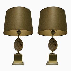 Lampes de Bureau Oeuf d'Autruche en Laiton, 1960s, Set de 2