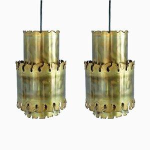 Lámparas colgantes brutalistas de Svend Aage Holm Sorensen, años 60. Juego de 2