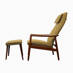 Vintage Teak Lounge Chair & Footstool by Søren Ladefoged for SL Møbler