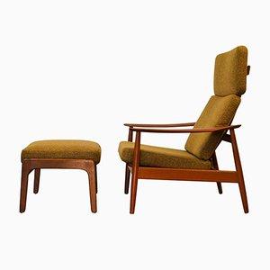 Vintage Modell FD164 Teak Sessel & Fußhocker von Arne Vodder für Cado