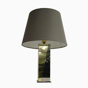 Lámpara de mesa vintage de metal cromado y latón, años 70
