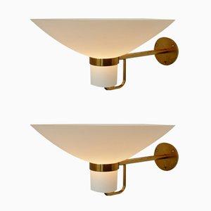 Messing and Glas Wandlampen, 1950er, 2er Set