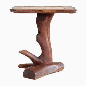 French Primitivist Pedestal Table in Carved Wood & Ceramic, 1960s