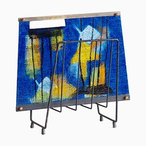 Italian Modernist Enamelled Magazine Rack, 1950s