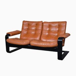 Vintage 2-Sitzer Leder Sofa von Lystolet, 1970er
