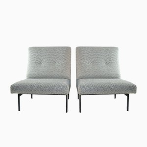 Mid-Century Italian Slipper White Lounge Chairs, Set of 2