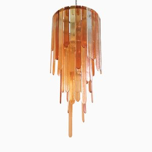 Großer Mid-Century Murano Glas Kronleuchter von Mazzega