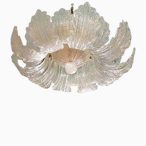 Lampadario in vetro di Murano trasparente di Barovier & Toso, anni '70