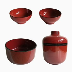 Black and Red-Lacquered Bakelite Tableware Set from Chabrières et Cie, 1970s, Set of 4