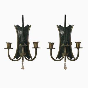 Italienische Vintage Art Deco Stil Wandlampen, 2er Set