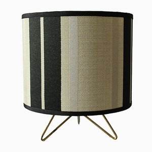 Italian Blue & Cream Striped Table Lamp, 1950s
